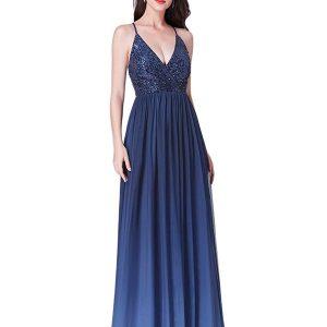 Vestido Dama de Honor azul tirantes